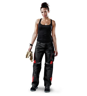 Kübler Arbeitshose Damen mit Cordura® Kniepolstertaschen 2124, Farbe:schwarz/rot;Größe:38 -